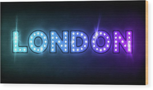 London In Lights Wood Print
