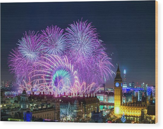 London New Year Fireworks Display Wood Print