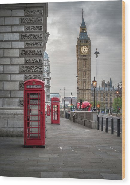 London Phone Booths And Big Ben Wood Print