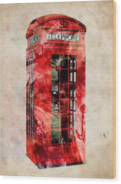 London Phone Box Urban Art Wood Print