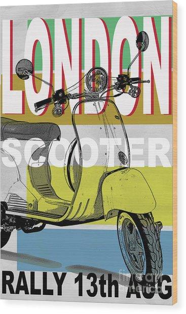 London Scooter Rally Wood Print by Edward Fielding