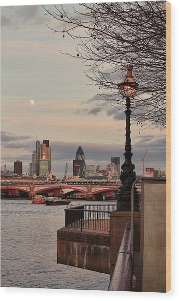 London Skyline From The South Bank Wood Print