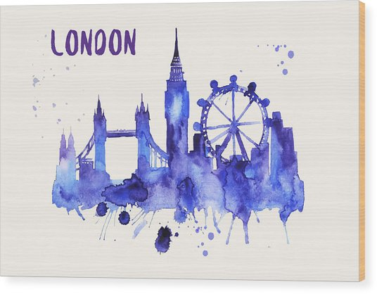 London Skyline Watercolor Poster - Cityscape Painting Artwork Wood Print