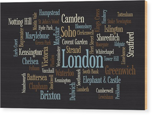 London Text Map Wood Print