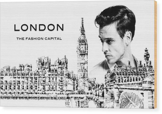 Wood Print featuring the digital art London The Fashion Capital by ISAW Company