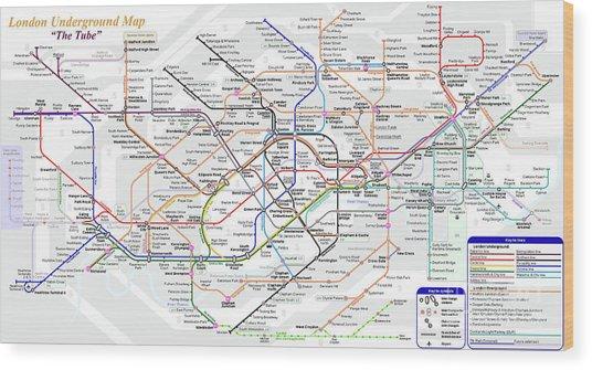 London Underground Map Wood Print