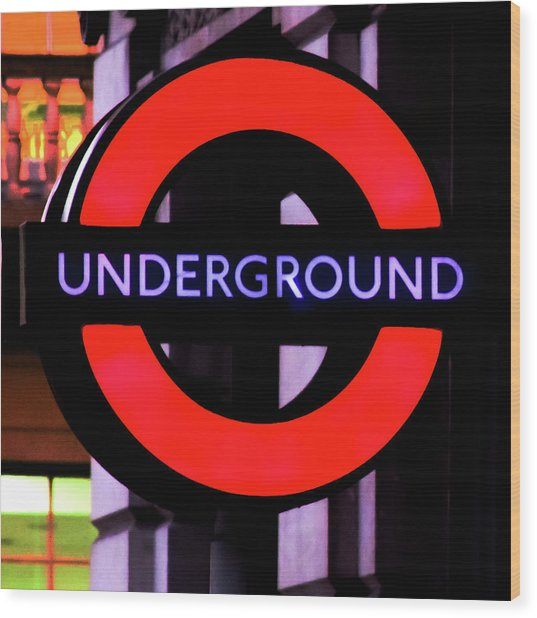 London Underground Sign Wood Print