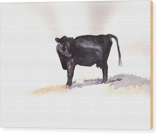 Lone Black Angus Wood Print