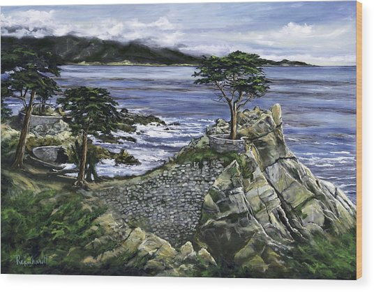 Lone Cypress Wood Print by Lisa Reinhardt