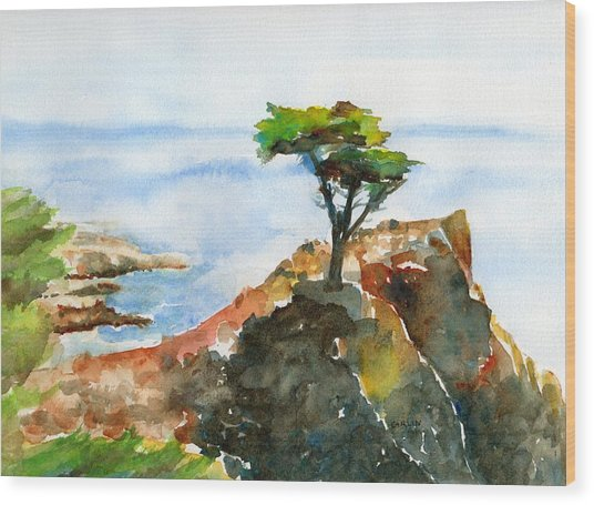 Lone Cypress Pebble Beach Fog Wood Print