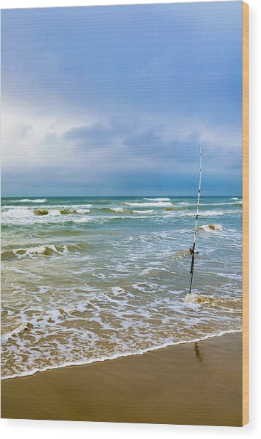 Lone Fishing Pole Wood Print