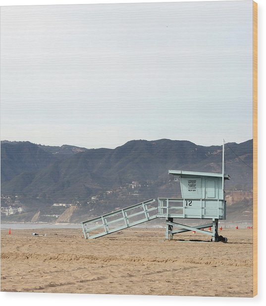 Lone Lifeguard Tower Wood Print
