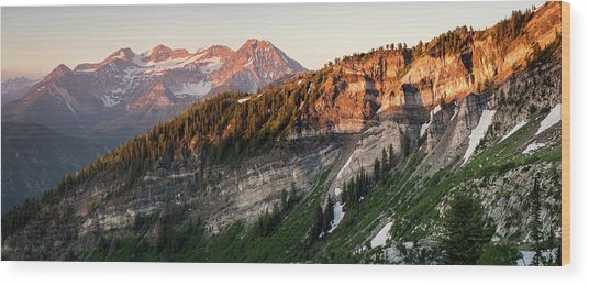 Lone Peak Wilderness Panorama Wood Print