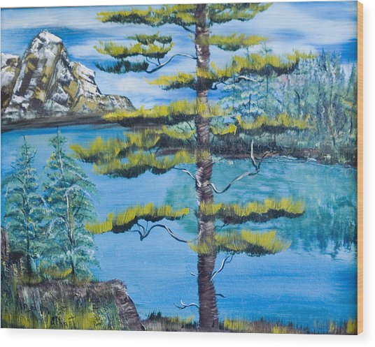 Lone Pine Wood Print by Mikki Alhart