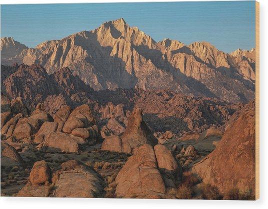 Wood Print featuring the photograph Lone Pine Peak At Sunrise by Stuart Gordon
