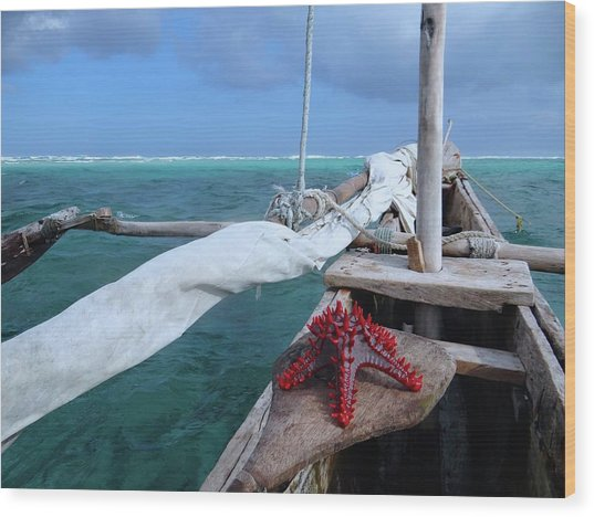 Lone Red Starfish On A Wooden Dhow 1 Wood Print
