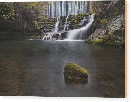 Lone Rock At The Falls Wood Print