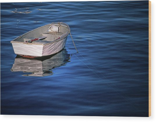 Lone Rowboat Wood Print