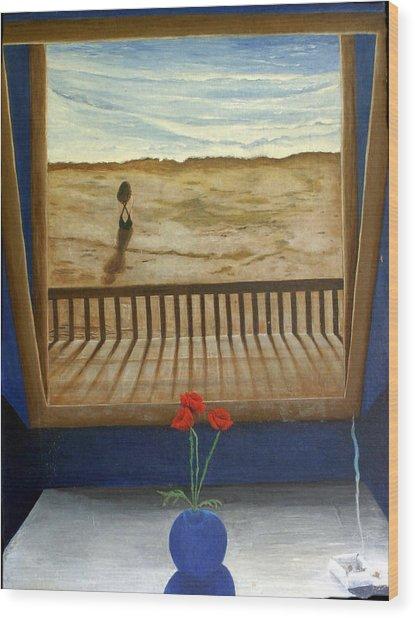 Lonely Beach Wood Print by Georgette Backs