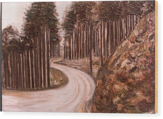 Lonely Curve Wood Print