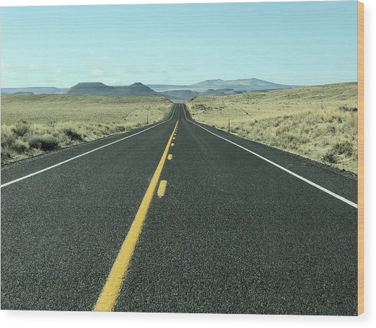 Lonely Highway Wood Print