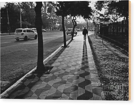 Lonely Man Walking At Dusk In Sao Paulo Wood Print