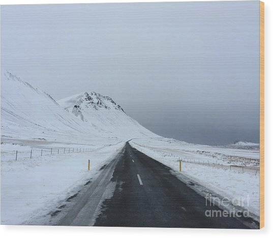 Lonely Road On Snaefellsnes Peninsula Wood Print