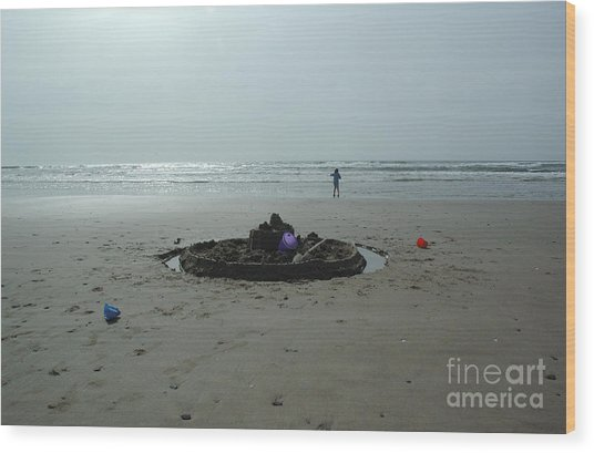 Lonely Sandcastle Wood Print