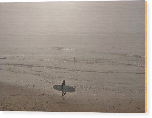 Lonely Surfer Wood Print
