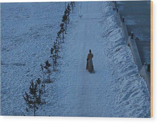 Lonely Walk/tsagaan Sar Wood Print