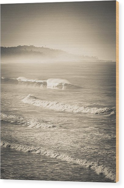 Lonely Winter Waves Wood Print