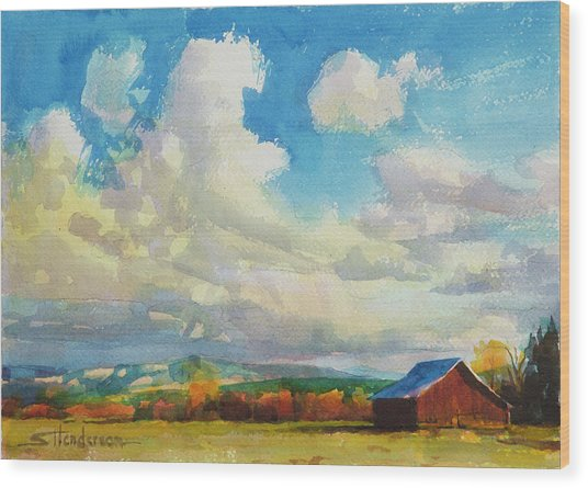 Wood Print featuring the painting Lonesome Barn by Steve Henderson