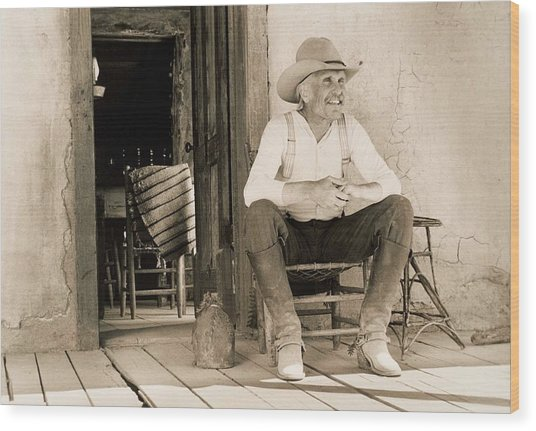 Lonesome Dove Gus On Porch  Wood Print