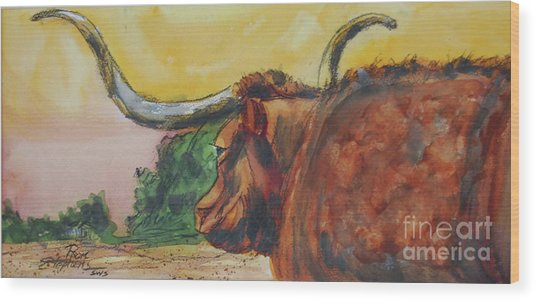 Lonesome Longhorn Wood Print