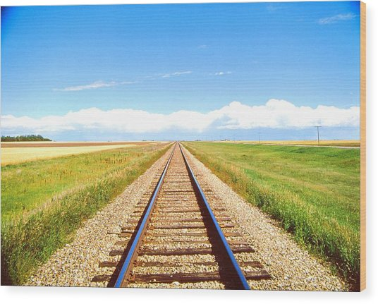 Lonesome Railroad Wood Print