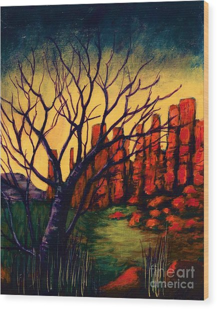 Lonesome Tree  Wood Print