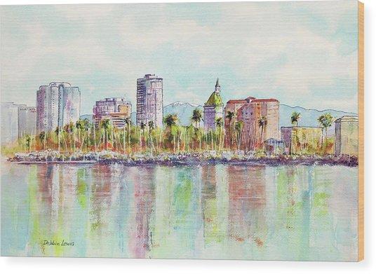 Long Beach Coastline Reflections Wood Print