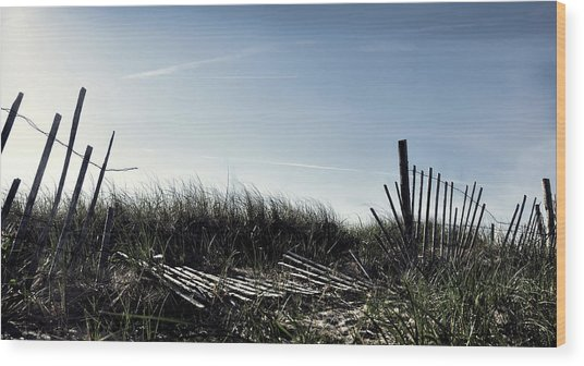 Long Beach Fence Wood Print