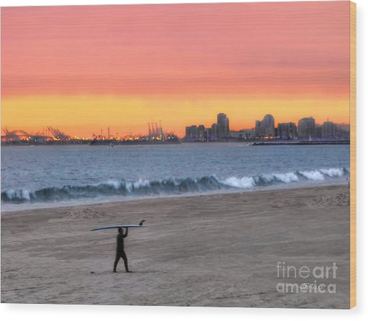 Long Beach From Huntington Beac Wood Print