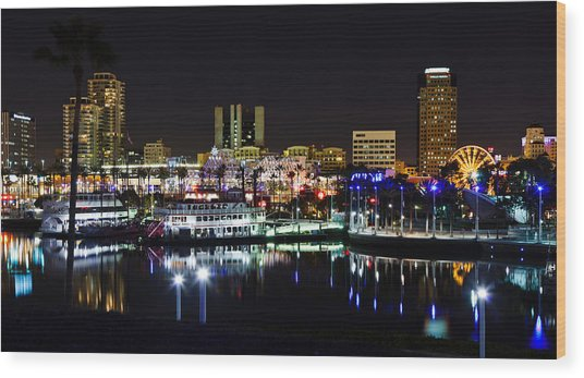 Long Beach Lights Wood Print