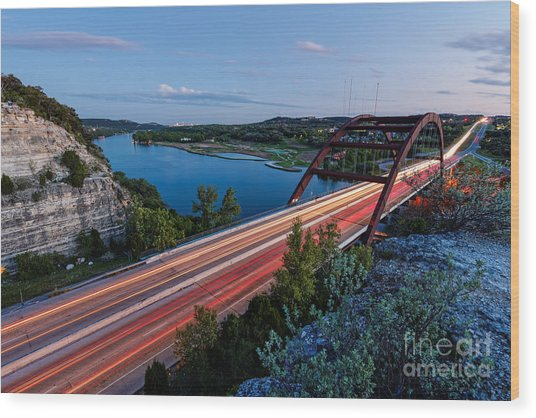 Long Exposure View Of Pennybacker Bridge Over Lake Austin At Twilight - Austin Texas Hill Country Wood Print