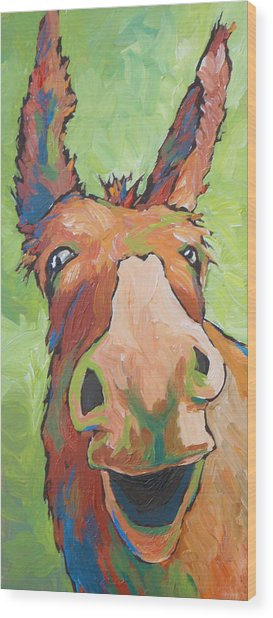 Long Face Wood Print by Sandy Tracey