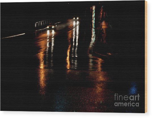Long Lights At Night Wood Print by Gary Chapple