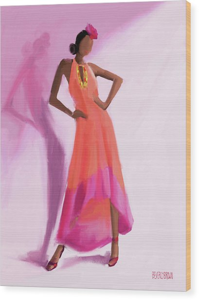 Long Orange And Pink Dress Fashion Illustration Art Print Wood Print by Beverly Brown