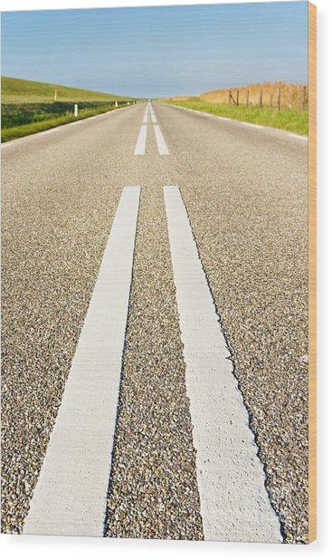 Long Road Wood Print by David Bleeker