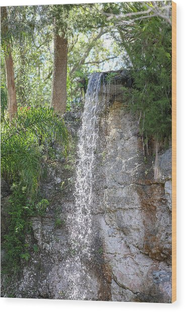 Wood Print featuring the photograph Long Waterfall Drop by Raphael Lopez