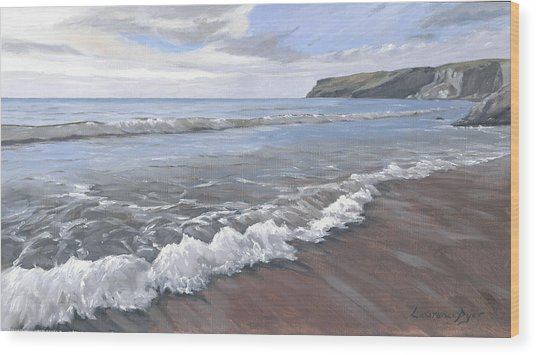 Long Waves At Trebarwith Wood Print