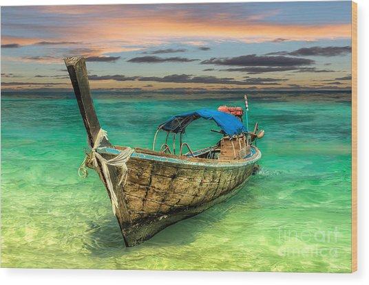 Longboat Sunset Wood Print