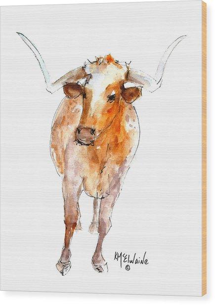 Longhorn 1 Watercolor Painting By Kmcelwaine Wood Print