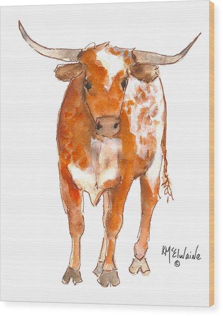 Texas Red Longhorn Watercolor Painting By Kmcelwaine Wood Print